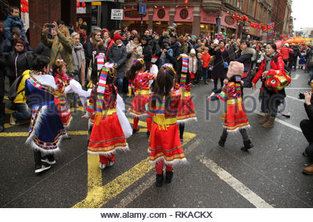 London, UK. 10th February 2019. Young performers entertain, as hundreds of Londoners attend the Chinese New Year Celebration in Chinatown, central London to urse in the Year of the Pig. The event was organised by the London Chinatown Chinese Association (LCCA). Photo by David Mbiyu/ Alamy Live News - Stock Image