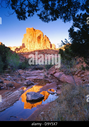 Sandstone monolith reflected in a slickrock pool, tributary to the Escalante River, Glen Canyon National Recreation - Stock Image