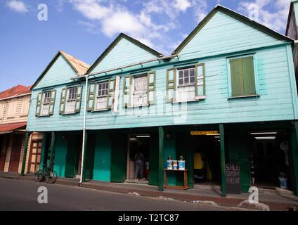 Colourful building in Saint John's, Capital of Antigua and Barbuda - Stock Image