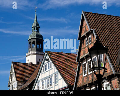 Timbered houses, St. Mary church,  old town of Celle, Lower Saxony, Germany, Europe - Stock Image