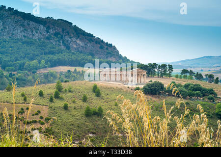 The ancient ruins of the stone Doric Temple of Segesta in the landscape, Sicily, Italy - Stock Image