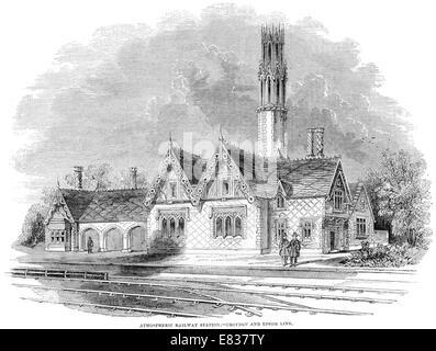 Atmospheric Railway station Croydon Epsom line 1844 - Stock Image