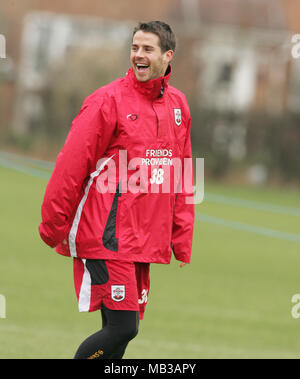 Jamie Redknapp training during his time playing for Southampton football club. - Stock Image