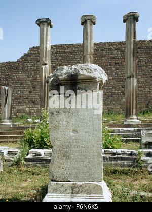 Turkey. Aeolis Region. Pergamum. Hellenic altar with Greek inscription. - Stock Image
