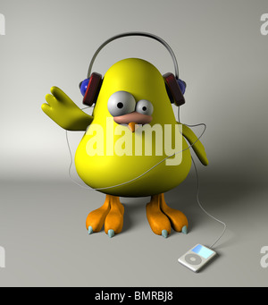 3D bird with mp3 - Stock Image
