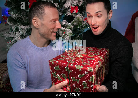 Male gay couple exchanging christmas gift in front of tree, one smiling other surprised - Stock Image