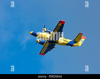 One of two Reims 406 II Caravan aircraft operated by the Scottish Government as Fisheries Parol and protection over Scottish Waters. - Stock Image