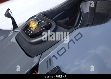 quick release steering wheel on BAC Mono supercar at Goodwood United Kingdom - Stock Image