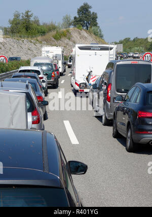 Traffic jam on the motorway. - Stock Image