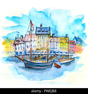 Watercolor sketch of Nyhavn, Copenhagen, Denmark. - Stock Image