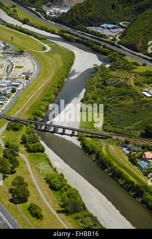 Hutt River and Hutt Valley, Lower Hutt, Wellington, North Island, New Zealand - aerial - Stock Image