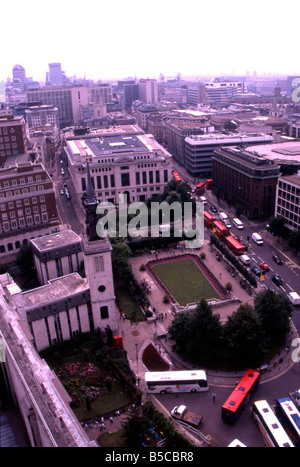 above aerial architecture building buildings bus busses cathedral city England formal lawn London office Park peters - Stock Image