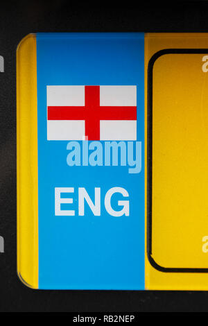 English flag on a car number plate - Stock Image