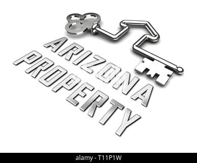 Arizona Real Estate Silver Key Shows Southwestern Property Or Broker In The Usa 3d Illustration - Stock Image