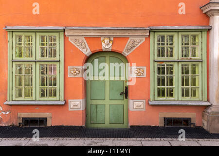 Old house with orange walls in Gdansk Poland - Stock Image