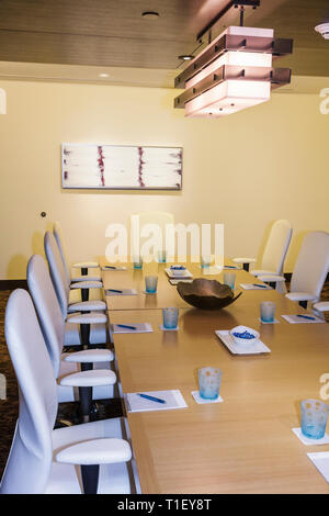 Miami Florida Epic Hotel luxury boutique lodging hospitality conference meeting room decor business office chairs white leather - Stock Image