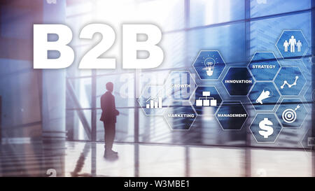 Business to business B2B - Technology future. Business model. Financial technology and communication concept - Stock Image