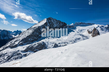 Panoramic view of the summit of Mount Marmolada on a beautiful sunny day, Dolomites, Italy - Stock Image