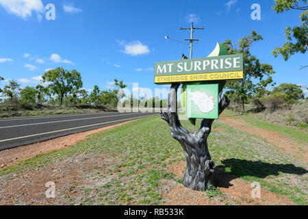 Mount Surprise name sign, a small rural town along the Savannah Way, Queensland, QLD, Australia - Stock Image