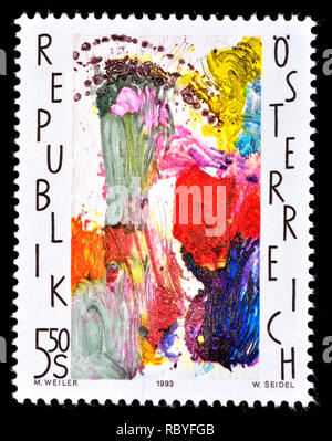 Austrian postage stamp (1993) : 'Eastern' - painting by Max Weller (1910-2001) - Stock Image