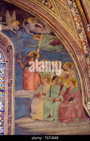 Last Judgment, Fresco, detail, Orcagna , 1354-57, Cappella Strozzi, Strozzi Chapel, Basilica di Santa Maria Novella, Church of Santa Maria Novella, Fl - Stock Image