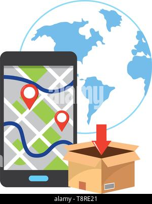 box and cellphone with a map and location point and globe vector illustration graphic design - Stock Image