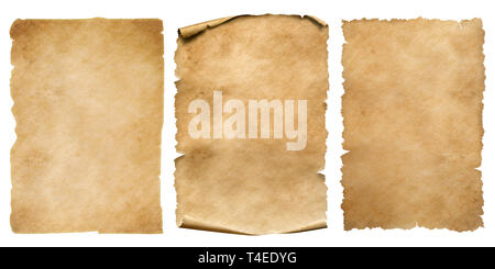 Vintage paper or parchment sheets set isolated on white - Stock Image