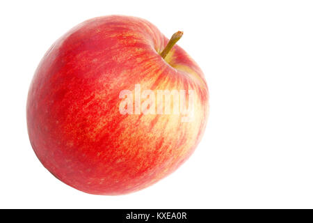 Red yellow striped color apple isolated on white close up - Stock Image