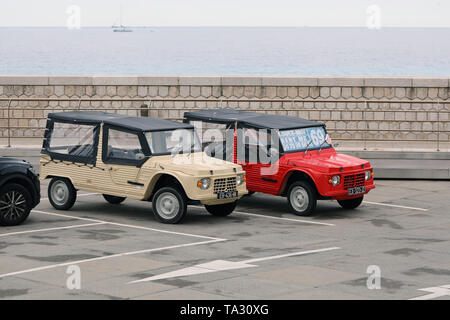 Nice, France - May 21, 2019: Two Citroen Mehari (Side View), French Retro Cars Parked In A Parking Lot In Nice On The French Riviera, Red And Beige Co - Stock Image