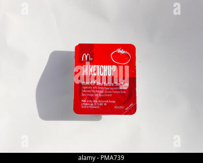 A McDonalds Ketchup dip packet - Stock Image