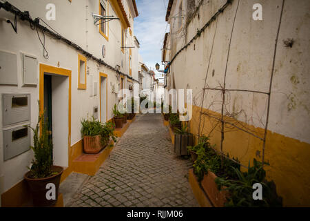 A picturesque street in the historic town of Elvas in Portugal - Stock Image