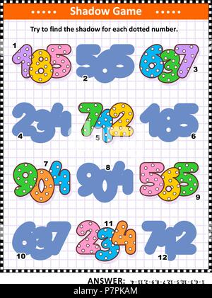 Educational shadow matching math puzzle or game for kids with colorful dotted numbers. Answer included. - Stock Image