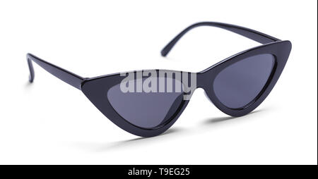 Girls Black Retro Sunglasses Isolated on White Background. - Stock Image