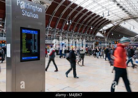 Train times information screens at Paddington station, London, United Kingdom - Stock Image