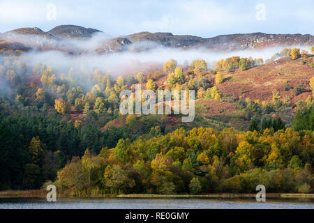 Mist shrouded autumn colours on Loch Faskally near Pitlochry, Perthshire, Scotland - Stock Image