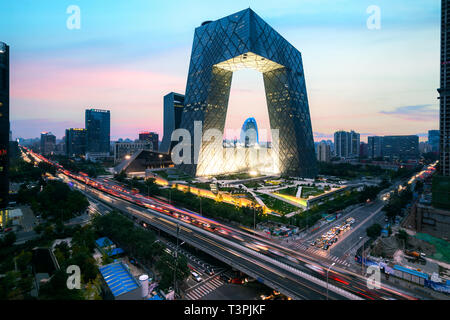 Night cityscape with bilding and road in Beijing city, China - Stock Image