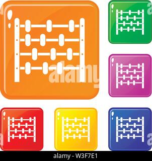Children abacus icons set vector color - Stock Image