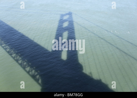 Shadow of the Golden Gate Bridge in San Francisco - Stock Image