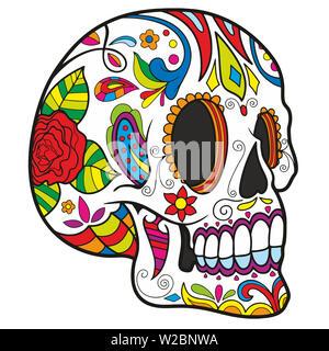 calavera skull mexican festival celebration dead day halloween illustration perspective - Stock Image