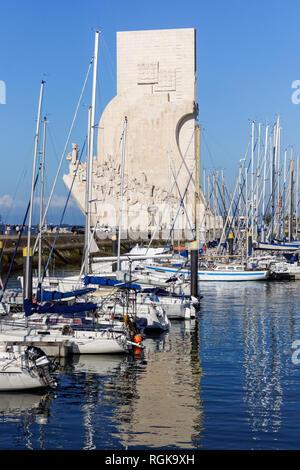 Monument to the Discoveries (Padrão dos Descobrimentos monument) and marina Doca De Belem in Lisbon, Portugal - Stock Image