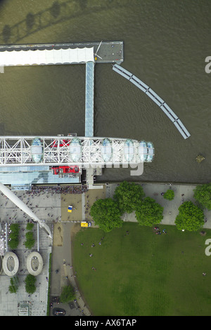Vertical aerial view of part of the British Airways London Eye on the South Bank of the River Thames in London - Stock Image