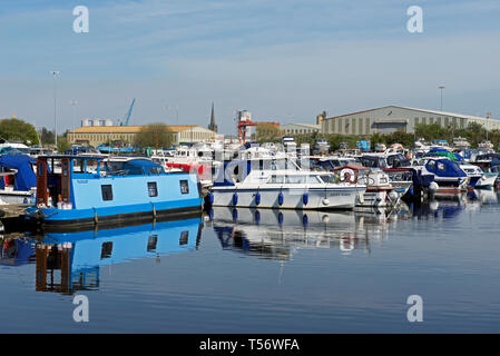 Recreational boats moored in Goole Marina, Goole, East Yorkshire, England UK - Stock Image
