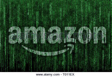 Amazon logo matrix - Stock Image