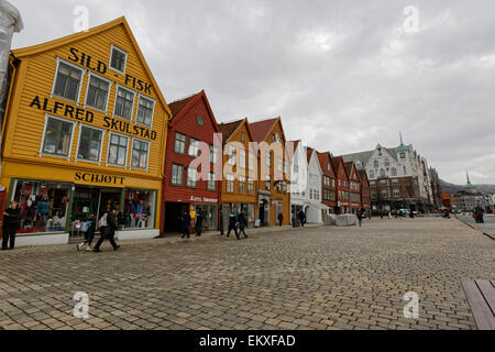 The famous Hanseatic Bryggen / German Warf, Bryggen in Bergen, Norway. - Stock Image