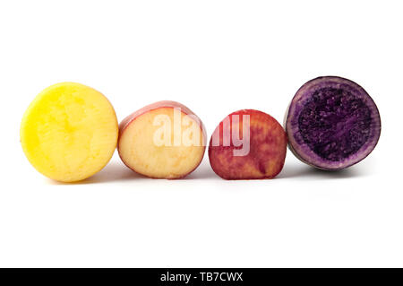 Potatoes with different pigmentation (Solanum tuberosum) on a white background - Stock Image