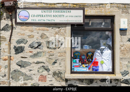 United Fishermans Co-operative Limited is a shop selling clothes and supplies for fishermen. - Stock Image
