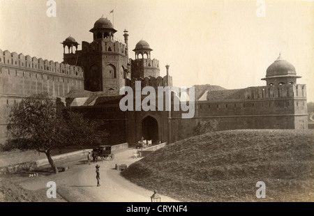 Lahore Gate of the Red Fort, Delhi, ca 1875, by Lala Deen Dayal - Stock Image