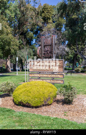 Martin Murphy Jr. Historical Park (Murphy Park), Lawn Bowls Green, SV Lawn Bowls Club; Sunnyvale, California, USA - Stock Image