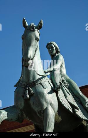 Close up detail of the Lady Godiva statue on Broadgate in Coventry city centre UK - Stock Image