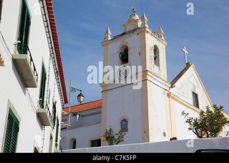 Portugal, Algarve, Ferragudo, Church & White Washed Architecture - Stock Image